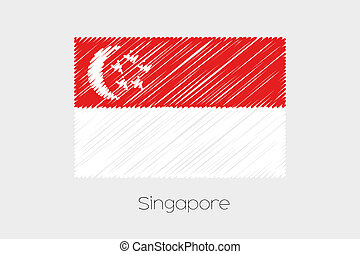 Scribbled Flag Illustration of the country of Singapore - A...