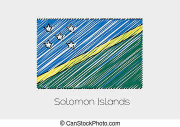 Scribbled Flag Illustration of the country of Solomon...