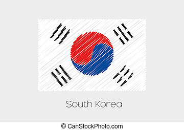 Scribbled Flag Illustration of the country of South Korea -...