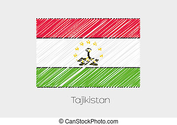 Scribbled Flag Illustration of the country of Tajikistan - A...