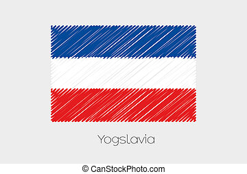 Scribbled Flag Illustration of the country of Yugoslavia - A...
