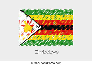 Scribbled Flag Illustration of the country of Zimbabwe - A...