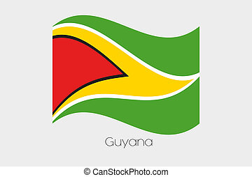 3D Waving Flag Illustration of the country of Guyana - A 3D...
