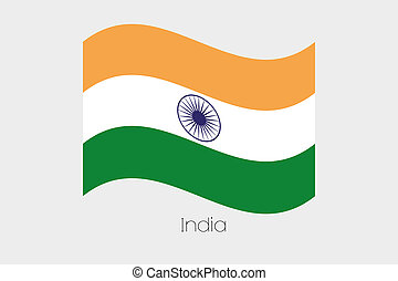 3D Waving Flag Illustration of the country of India - A 3D...