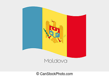 3D Waving Flag Illustration of the country of Moldova - A 3D...