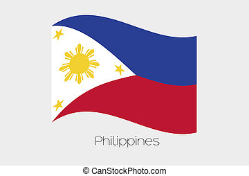 3D Waving Flag Illustration of the country of Philippines -...