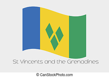 3D Waving Flag Illustration of the country of Saint Vincents...