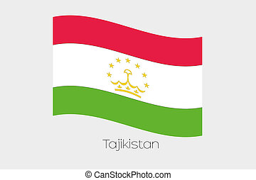 3D Waving Flag Illustration of the country of Tajikistan - A...