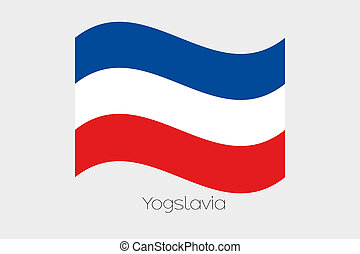 3D Waving Flag Illustration of the country of Yugoslavia - A...
