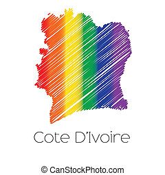LGBT Coloured Scribbled Shape of the Country of Cote Divoire...