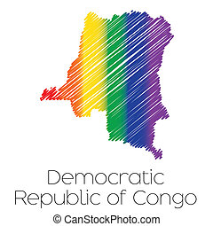 LGBT Coloured Scribbled Shape of the Country of Democratic...