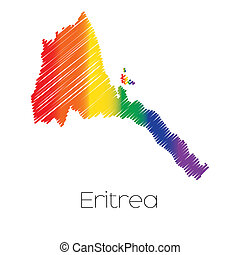 LGBT Coloured Scribbled Shape of the Country of Eritrea - An...