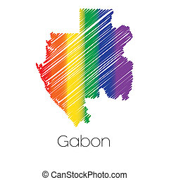 LGBT Coloured Scribbled Shape of the Country of Gabon - An...