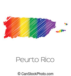 LGBT Coloured Scribbled Shape of the Country of Puerto Rico