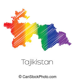 LGBT Coloured Scribbled Shape of the Country of Tajikistan -...