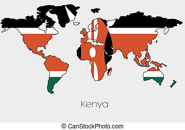 Flag Illustration inside the shape of a world map of the country of  Kenya
