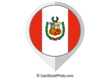 Flag Illustration inside a pointed of the country of Peru -...