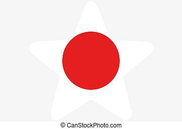 bandeira, Ilustração, dentro, Um, estrela, de,...