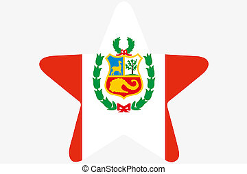 Flag Illustration inside a star of the country of Peru - A...