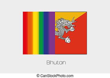 LGBT Flag Illustration with the flag of Bhutan - An LGBT...