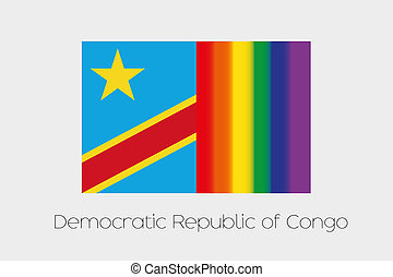 LGBT Flag Illustration with the flag of Democratic Republic...
