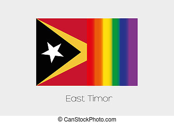 LGBT Flag Illustration with the flag of East Timor - An LGBT...