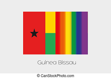 LGBT Flag Illustration with the flag of Guinea Bissau - An...