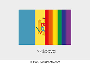 LGBT Flag Illustration with the flag of Moldova - An LGBT...