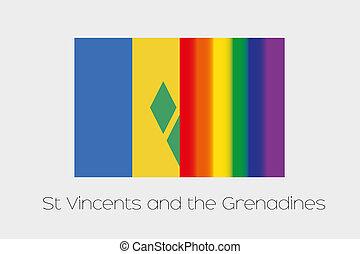 LGBT Flag Illustration with the flag of Saint Vincents and...