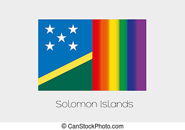 LGBT Flag Illustration with the flag of Solomon Islands - An...
