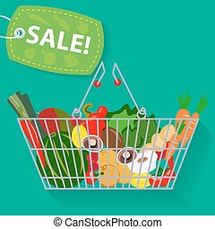 Supermarket basket of vegetables sale vector