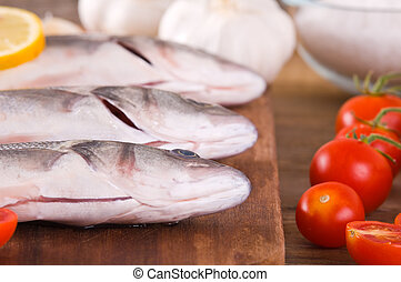 Uncooked sea bass
