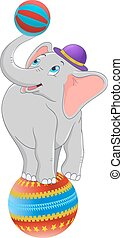 cartoon baby elephant standing on circus ball vector