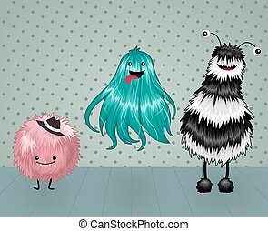 Cute and Fluffy Monsters on a Dotted Background Vector...