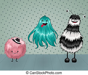 Cute and Fluffy Monsters on a Dotted Background