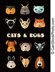 Cats and dogs icon set Vector format - Big set of vector...