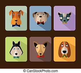 Big set of vector icons of dogs - Big set of vector icons of...