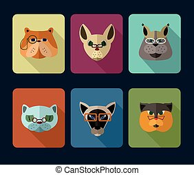 Big set of vector icons of cats - Big set of vector icons of...