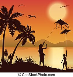 People with Kites on tropical beach
