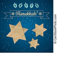 Happy Hanukkah Greeting with Star of David and Dreidels