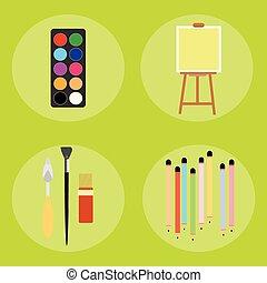 Set of artist pencils paint brush canvas palette knife
