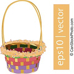 Color vector Easter wicker basket handmade with frame on...