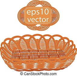 Brown vector wicker basket handmade with frame on white...