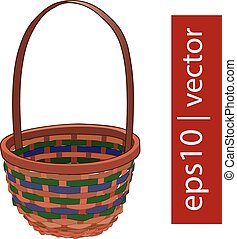 Brown vector Easter wicker basket handmade with frame on...
