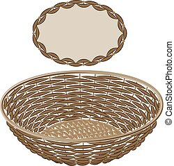 Light brown vector round wicker basket handmade with frame...