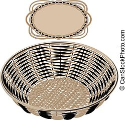 Gray vector wicker round basket handmade with frame on white...
