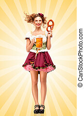 Beer with snacks - Beautiful sexy Oktoberfest waitress,...