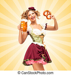 Happy hours. - Beautiful sexy Oktoberfest waitress wearing a...