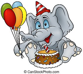 Elephant Happy Birthday - detailed colored illustration