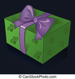 Beautiful green gift box with purple bow on a blue background